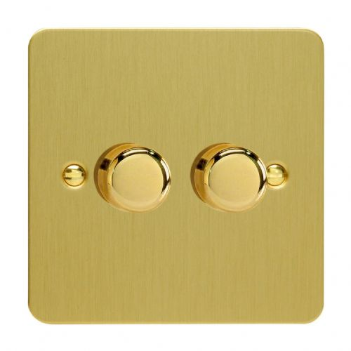 Varilight JFBP252 Ultraflat Brushed Brass 2 Gang 2-Way Push-On/Off LED Dimmer 0-120W V-Pro